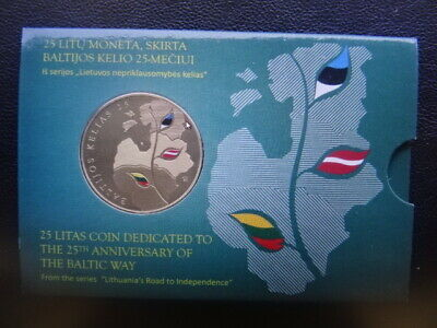 2014 coin of Lithuania '25 Anniv. of the Baltic Way' in Baltic st- 25 Litas UNC