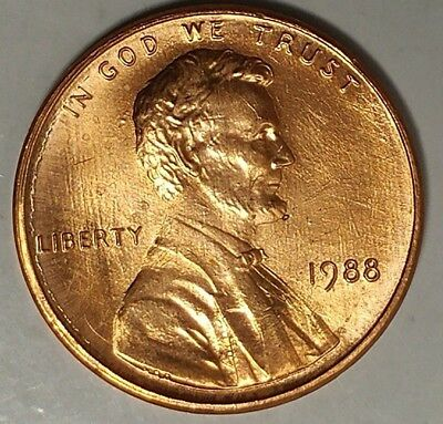 1988-P 1C Lincoln Memorial Cent 18ll0927  BU Only 50 Cents for Shipping*