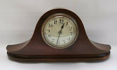 Vintage Antique French Mahogany Wooden Napoleon Hat Mantel Clock 36cm Wide