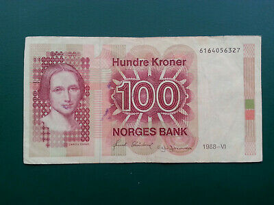 Norway One Hundred Kroner Kr100 Banknote - Camilla Collett & Silver Buckle