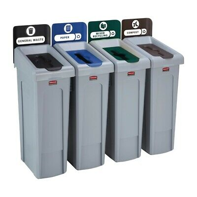 Rubbermaid Slim Jim Four Stream Recycling Station 87Ltr [DY081]