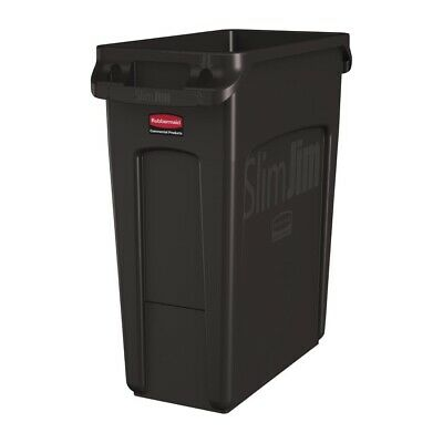 Rubbermaid Slim Jim Container With Venting Channels Brown 60Ltr [DY113]
