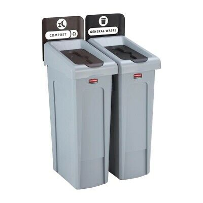 Rubbermaid Slim Jim Two Stream Recycling Station 87Ltr [DY079]