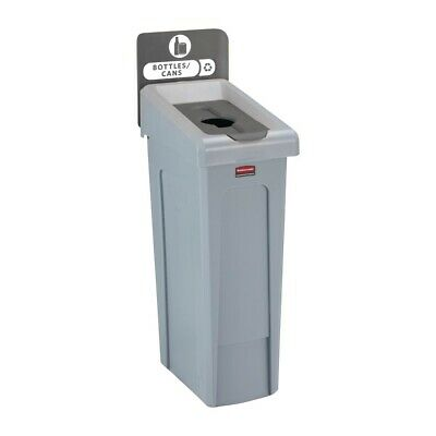 Rubbermaid Slim Jim Bottles and Cans Recycling Station Dark Grey 87Ltr [DY089]
