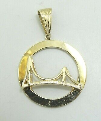 14K Yellow Gold Golden Gate Bridge Pendant 30mm 5.9 Grams D9806