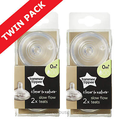 Tommee Tippee Teats, Slow Flow - TWIN PACK (4 Teats)