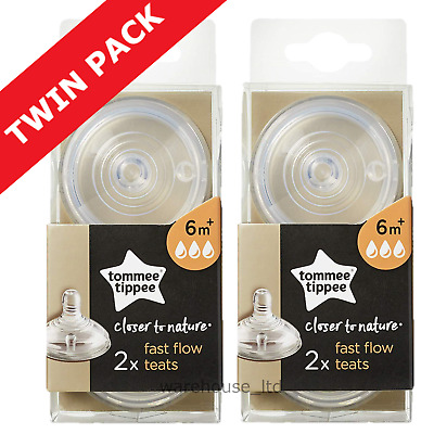 Tommee Tippee Teats, Fast Flow - TWIN PACK (4 Teats)