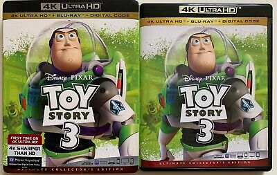 Disney Pixar Toy Story 3 4K Ultra Hd Blu Ray 3 Disc Set + Slipcover Sleeve Woody