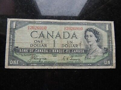 1954 BANK CANADA $1 ONE DOLLAR COYNE TOWERS G/A 2626910 DEVILS FACE BC-29a