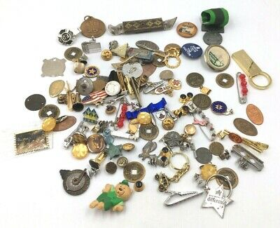 Junk Drawer Lot of 125 Tie Tac Lapel Pin Button Coins Etc