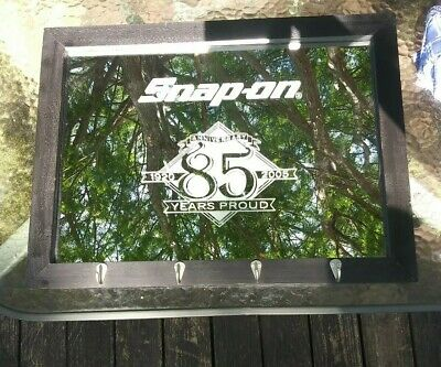 VINTAGE SNAP ON TOOLS MIRROR WITH COAT HOOKS 85th ANNIVERSARY ** NO RESERVE **
