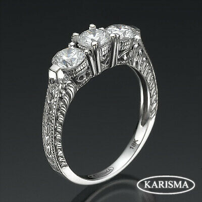 Solitaire W Accents Ornate Diamond Round Cut Ring 18 Kt White Gold 1.39 Ct