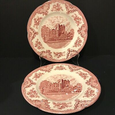 """Johnson Brothers Old Britain Castles Pink Transferware 8"""" Dinner Plates lot of 2"""