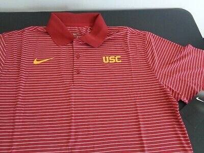 7a2bb6817 USC TROJANS Dri-Fit NIKE Striped Golf Coaching MEDIUM Polo Shirt FIGHT ON!  New