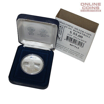 2000 Perth Mint RAM Sydney Paralympics Silver Proof $5 Coin in Case - Basketball