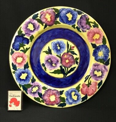 """C.1930'S Art Deco English Maling Tube Lined 28.5 Cm Display Plate """"Pansies""""."""