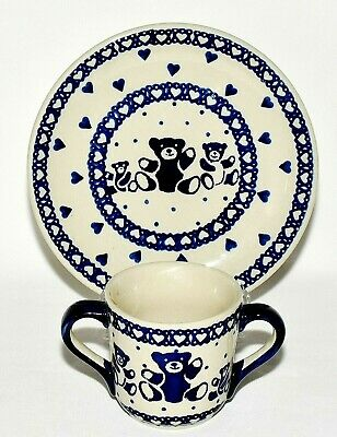 Boleslawiec Polish Pottery Childs Blue Heart & Teddy Bear Plate & Matching Mug