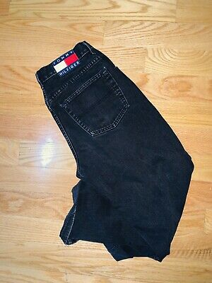 0a884c7e Vintage Tommy Jeans Tommy Hilfiger Black Jeans Spell Out 30x32 Flag 90s