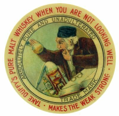 EARLY 1900s DUFFY'S CELLULOID MALT WHISKEY ADVERTISING POCKET MIRROR