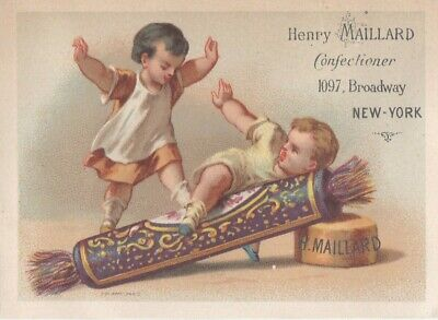 "ANTIQUE 1800s TRADE CARD ""CANDY STORE HENRY MAILLARD & CO."",CHILD CRACKER POP"