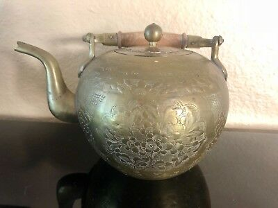 Beautiful Antique Chinese Brass Teapot tea kettle Engraved Marked on the bottom