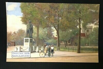1910 Watercolour Attributed To A R Quinton Bunyan's Statue Bedford Midland  Line