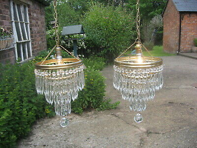 Pair Of Vintage 4 Drop Crystal & Brass Waterfall Chandeliers Fully Wired /4134