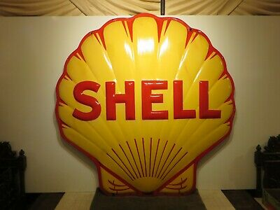 "48x48x4"" Original Antique 1940 Shell 3-D Porcelain Gas & Oil Advertising Sign"