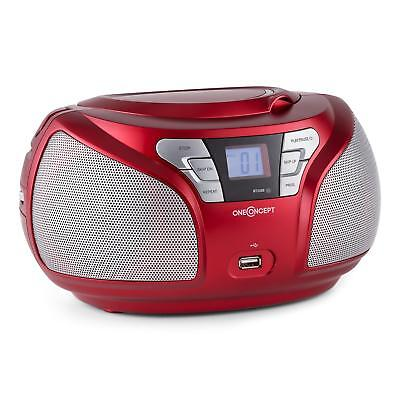 Oneconcept Groovie Wh Boombox Multimedia Bluetooth Cd Ukw Aux Mp3 Audio Rouge