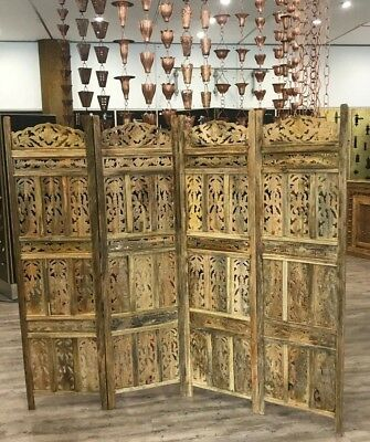 Indian Antique style Mango Wood Carved Panel Screen / Room Divider
