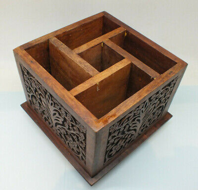 Vintage Hand Carved Wooden box. Dividers/ compartments storage/display Indian
