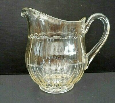 Vintage pressed glass water jug - fluted panels - 1 litre (nearly 2 pints)