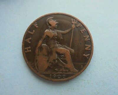 1907 Edward VII, Halfpenny, Good Condition.