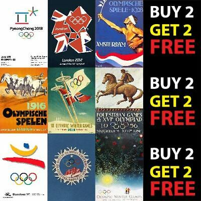OLYMPIC GAMES SUMMER WINTER VINTAGE SPORT POSTERS A4/A3 Prints 300gsm Paper/Card