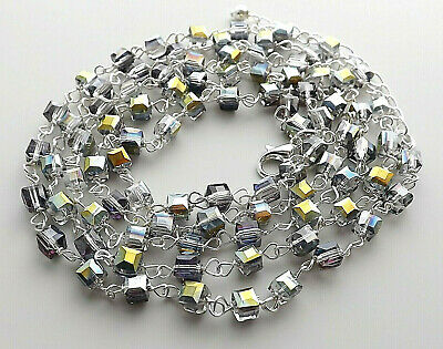 Mystic lustre glass crystal cube bead necklace . silver plated square jewellery
