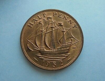 1952 Halfpenny, George VI. Excellent Condition.