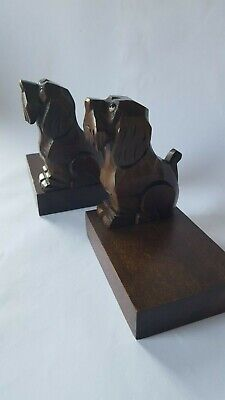 Art Deco Black Forest Style Carved Wooden Dog Bookends, Made in Germany
