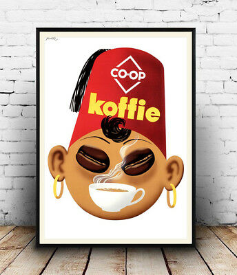 Co op koffie : Vintage  adverising , poster, Wall art, reproduction.
