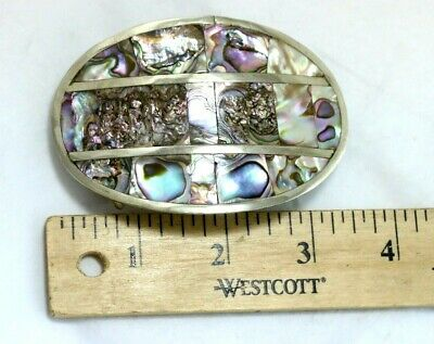 Vintage Mexican Silver Plated Abalone Shell Oval Belt Buckle