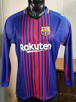 61a0fa461f3 FCB Barcelona Football Shirt Soccer Jersey Men's M/L Rakuten Long Sleeve.