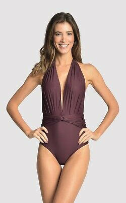 cd4951df7c Lenny Niemeyer Women's Maillot V Neck One Piece Swimsuit In Eggplant Size  L(XV)