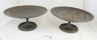 Pair of Antique Risers Centerpiece Plates in Bronze in style Eclectic G20