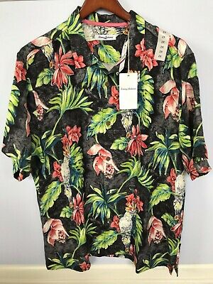 0a49f566 Tommy Bahama Mens Silk Tahitian Tweets Black Camp Shirt Xl 2Xl 3Xl Nwt $125