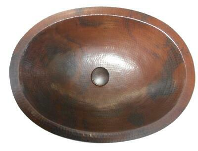 "Oval 19"" Hand Hammered Copper Bathroom Vanity Sink with Pop-Up Drain"