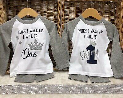 When I Wake Up Birthday Personalised Pyjama Baby One Grey White