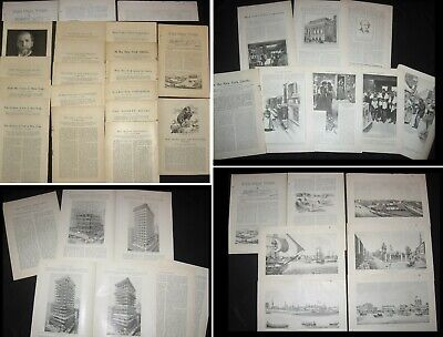 Lot 17 Antique/Vtg 1890s+NEW YORK CITY Print Articles~Society Life,Ghetto,Crime+