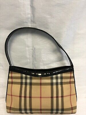 90bbb2f85f Authentic VTG BURBERRY LONDON Nova Check PVC Canvas Leather Beige Small Bag
