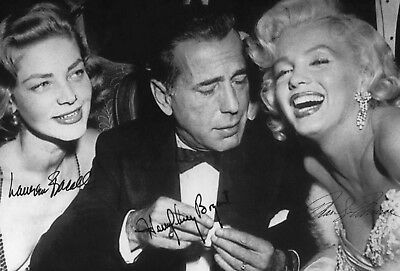 MARILYN MONROE (2) 4x6 Glossy Photos w/Bogart and Bacall Autographed Reprints