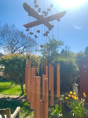 Bamboo Windchime With Beads - Dimensions H65cm X W20cm X D20cm