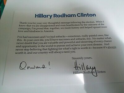 Hillary Clinton SIGNED letter RARE! First Lady President autograph
